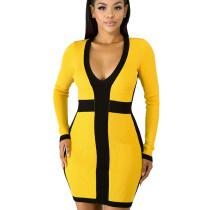 Wholesale Slim Bodycon Women Ribber V Neck Wrap Dress KF83