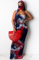 Red Sexy Tie Dye Sleeveless Round Neck Waist Tie Tank Dress YF8517