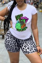 Light Gray Casual Polyester Mouth Graphic Short Sleeve Round Neck Tee Top Shorts Sets YMT6154