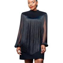 Unique 2 Pieces Lady Sets Long Sleeves Chiffon Dress + Fringed Shawl YYZ635