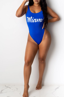 Blue Sexy Polyester Letter Sleeveless Round Neck One Piece Swimsuits SDD9277