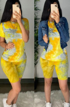Yellow Casual Cotton Tie Dye Short Sleeve Round Neck Tee Top Shorts Sets CM759