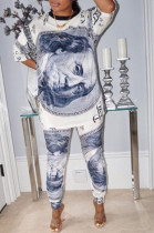 Grey Casual Polyester Half Sleeve Round Neck Tee Top Long Pants Sets CY1244