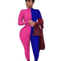 Blue Bodycon Contrast Color Zip Up Polyester Jumpsuit QQM3890