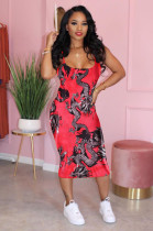Red Dragon Graphic Print Boat Neck Bodycon Cami Dress LSN748