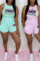 Green Casual Polyester Letter Sleeveless Round Neck Tank Top Shorts Sets MA6568
