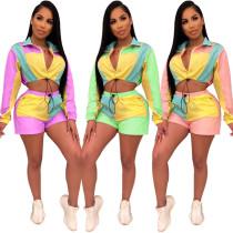 Fashion Color Block Elastic Shorts Sports Outfits QZ5240
