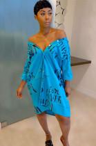 Blue Letter Print V Neck Skirt Dress TZ10872
