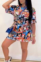 Casual Polyester Graffiti Short Sleeve Round Neck Shift Dress TRS1055