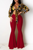 Red Casual Polyester Mid Waist Flare Leg Pants K8907