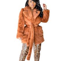 Brown Fleece Doubel-Layer Long Sleeve Coat with Belt M1007