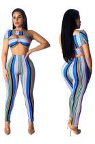 Bandeau Tops Striped Slim Pants Two Pieces Sets MDO9015