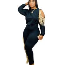 Black Newest Women Leisure White/Black Slim Bodycon Tassel Outfits JH132