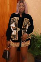 Black Scarf Print Loose Skirt Top YZ1563