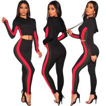 Yoga Crop Hoodie Tops Skinny Leggings Outfits SMR9067