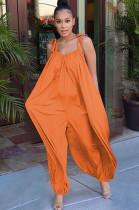 Orange Solid Color Slip Loose Jumpsuit F8264