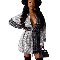 Latest Casual Button Down Colors Patchwork Shirt Dress SDD9214