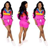 Wholesale Sport Color Patchwork 2 Pieces Shorts Suits LD8292