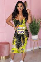 Yellow Comic Graphic Print Cami Long Dress TK6077