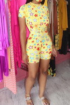 Yellow Casual Polyester Short Sleeve Round Neck All Over Print Tee Top Shorts Sets HHM6321