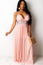 Pink Open Back Embroidered Waist Ruffles Dress R6263