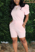 Pink Casual Short Sleeve Round Neck Ruffle Tee Top Shorts Sets SM9096
