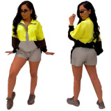 Reflective Two Pieces Sets Patchwork Shorts Outfits QZ5239
