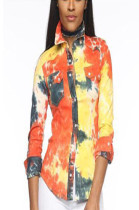 Yellow mixed color long sleeve women's shirts with front patched pokect LS6015