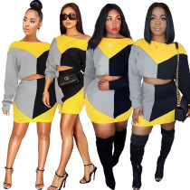New Design Color Block Polyester Bodycon Skirt Suits GL6086