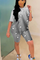 Green Casual Polyester Geometric Graphic Short Sleeve Round Neck Tee Top Shorts Sets YYF8089