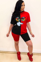 Black Casual Short Sleeve Round Neck Contrast Binding Tee Top Shorts Sets BBN066