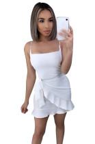 White Side Knotted Wave Pleated Hem Slip Dress XZ3528