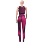 Blue Stripped Tank Bodycon Jumpsuits ED8108