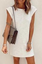 White Casual Cute Short Sleeve Round Neck Mini Dress K8886
