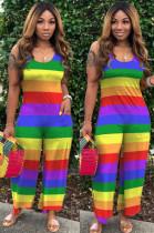 Casual Polyester Rainbow Stripe Sleeveless Round Neck Tank Jumpsuit SH7181