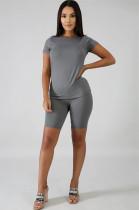 Gray Solid Color Bodycon Short Sets QQM3998