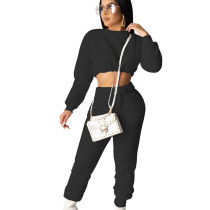 Black Trendy Women Autumn Winter Elastic Waist Pants Suits SDD9208