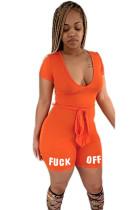 Orange Print Plunging Neck Self Tied Romper Jumpsuit Yellow SH7170