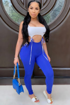 Blue Casual Polyester Sleeveless Round Neck Waist Tie Tank Top Long Pants Sets ZS0291