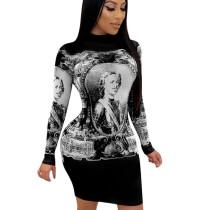 Black Reasonable Price Figure Print Bodycon Round Collar Dress QQM3923
