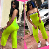 Fluorescent Green Strapless Bandeau Skinny Jumpsuits N9146