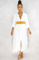 White Casual Linen Long Sleeve Buttoned Shirt Dress KZ104