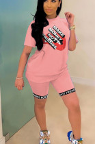 Pink Casual Polyester Mouth Graphic Short Sleeve Round Neck Tee Top Shorts Sets YYF8096