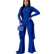 Blue Ribber Solid Color Flounces Round Neck Wide Leg Jumpsuit SN3723