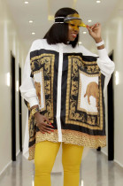White Scarf Print Loose Skirt Top YZ1563