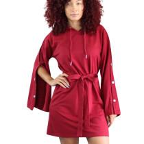 Red Street Style Leisure Buckle Sleeves Hoodie Tied Dress OEP6073