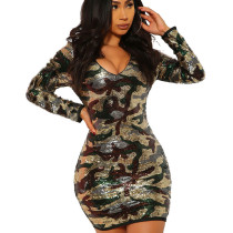Green Sexy V Neck Clubwear Sequined Camouflage Mini Wrap Dress N9185