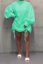 Light Green Casual Polyester Long Sleeve High Neck Shirred Detail Shirt Dress C3009