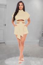 Khaki Modest Short Sleeve High Neck Tie Front Crop Top Shorts Sets W8273
