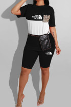 Black Casual Polyester Letter Short Sleeve Round Neck Spliced Tee Top Shorts Sets YMT6145